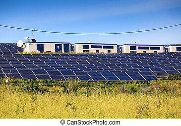 Solar panels of photovoltaic modules - View of solar panels...
