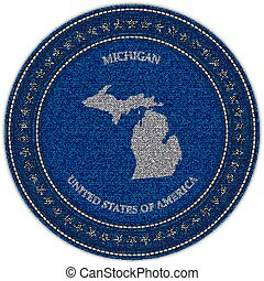 Label with map of michigan. Denim style.