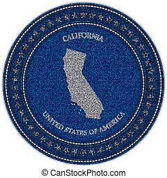 Label with map of california. Denim style.