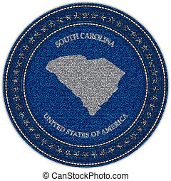 Label with map of south carolina. Denim style.
