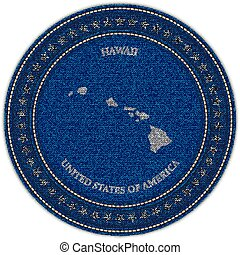 Label with map of hawaii. Denim style.