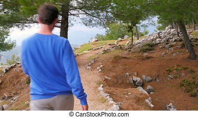 """tourist man walking trekking historical lycian way, lycia..."