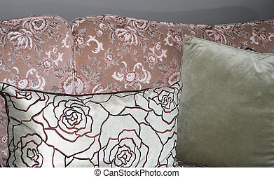 Brocade sofa with pillows - Vintage dusty rose brocade sofa...