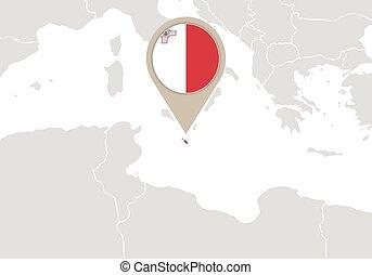 Malta on Europe map