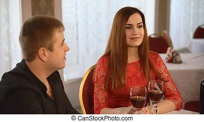 man and girl in restaurant Valentines Day rendezvous...