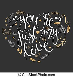 vector hand drawn inspiration lettering heart shaped quote -...