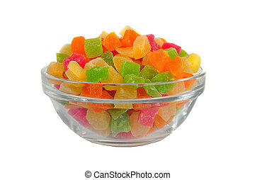 candied fruits on a white background