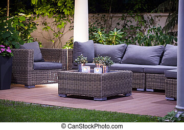 Luxurious rattan garden furnitures - Image of luxurious...