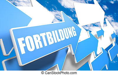 Fortbildung - german word for further education - 3d render...