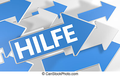 Hilfe - german word for help 3d render concept with blue and...