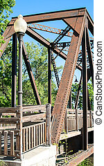 Historic Trestle Train Bridge - Frontal Lateral view of...