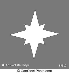 Flat simple star shape icon - A flat, eight point,...