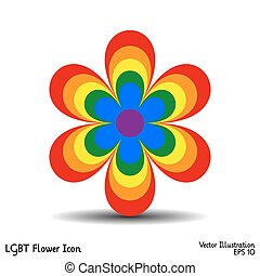 LGBT Flower Icon - Psychedelic Flower icon with the colours...