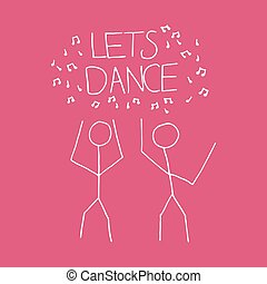 Lets dance cartoon illustration