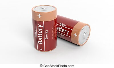 3D rendering of batteries, isolated on white background.