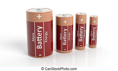 3D rendering of batteries in all sizes, isolated on white...