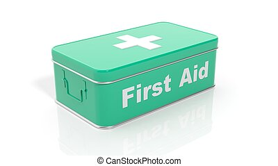3D rendering of green first aid kit, isolated on white...