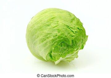 Iceberg lettuce, on white background.