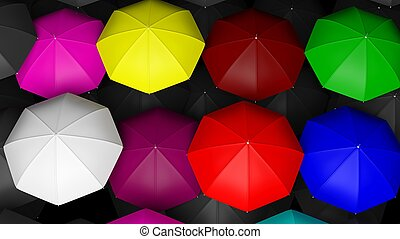 3D rendering of large colorful umbrellas tops