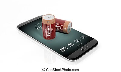 3D rendering of batteries on smartphone's screen, isolated...