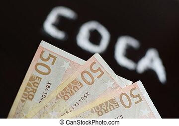 texte, billet banque,  coca