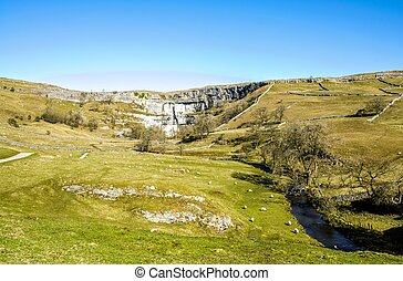 Malham Beck and Cove Yorkshire England - Malham Beck and...