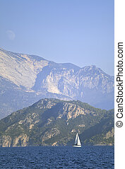 Yachting in Turkey - view of yachts and mountains from the...