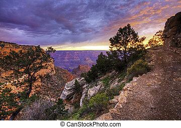 Sunset along Grand Canyon trail