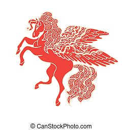 Brown Horse - Zentangle stylized Red Horse Hand Drawn doodle...
