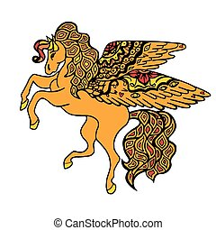 Brown Horse. - Zentangle stylized yellow Horse. Hand Drawn...
