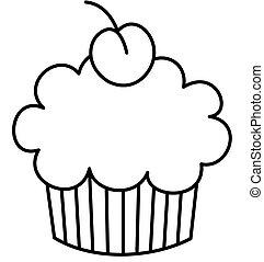 Cupcake, cereja, topo