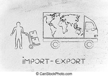 delivery truck with world map & man with parcels, import-export
