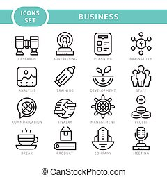 Set line icons of business isolated on white Vector...