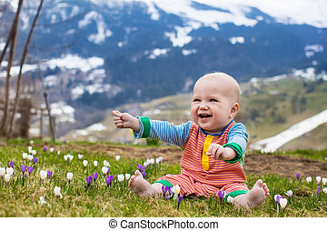 Little baby playing with crocus flowers in the Alps...