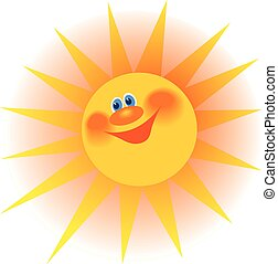 The stylized image of a smiling sun