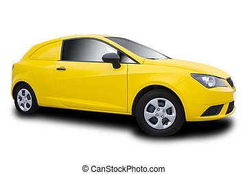 Yellow Car Isolated on White