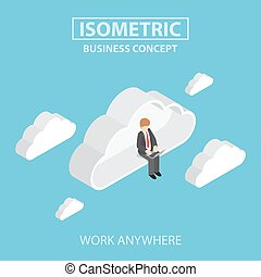 Isometric businessman sitting on cloud and working on laptop