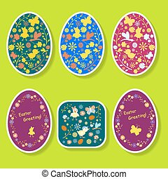 Easter eggs - A set of colored stickers for Easter eggs in...