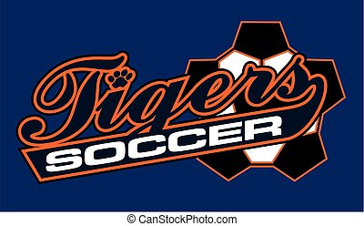 tigers soccer team design in script with tail for school,...