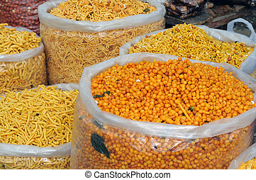 Indian Snacks - Variety of Indian snacks at a local bazaar