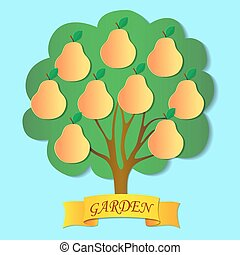 Pear Tree Garden - Orange-yellow pears on the tree Ribbon...