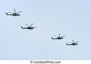 Russian air force during the parade commemorated to 70-th...