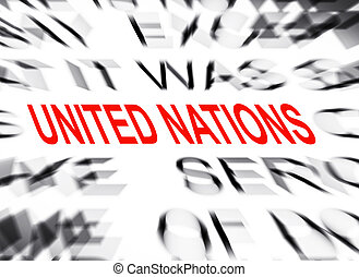 Blured text with focus on UNITED NATIONS