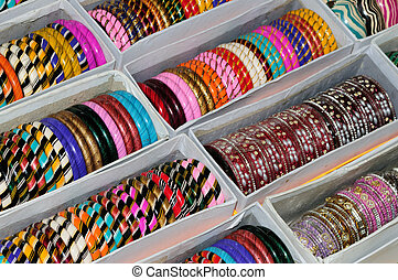 Bangles - A set of colorful bangles on display at a local...