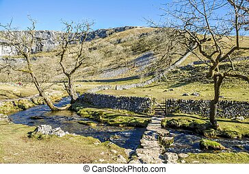 Bridge over Malham Beck - Low bridge over Malham Beck near...
