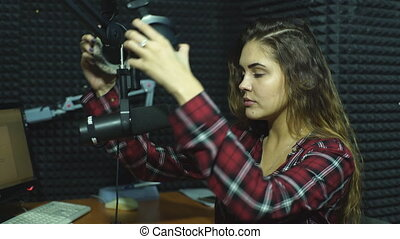Beautiful Radio DJ in studio - Radio DJ in studio a...