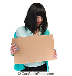 Frustrated business woman showing blank cardboard, isolated...