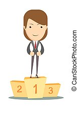 Woman proudly standing on the winning podium. - Business man...