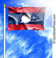 Blue sky and mast with hanged waving flag of Laos