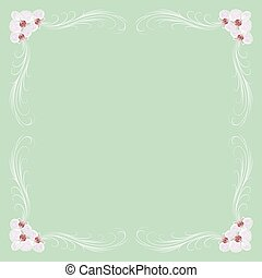 Delicate frame with orchid flowers